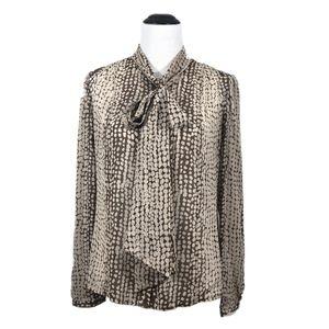 Victor Alfaro Silk Brown Sheer Tie-Front Blouse 6